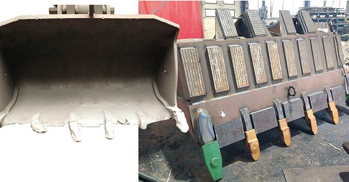 Bild links reparaturbedürftige Radladerschaufel, Bild rechts Schaufel nach einer Regeneration