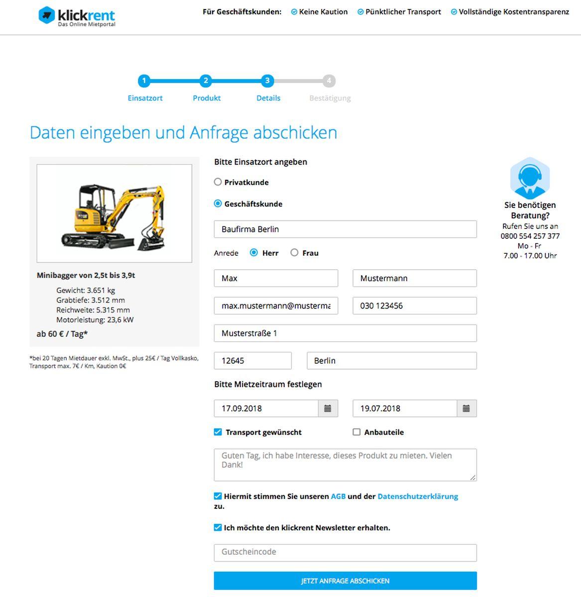 Klickrent Online-Mietportal