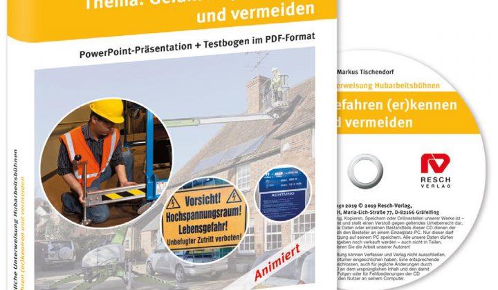 CD für die jährliche Unterweisung bei Hubarbeitsbühnen vom Resch-Verlag.