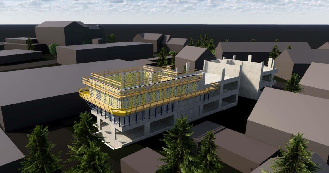 3D-Modell des neuen Sofistik-Bürogebäude in Nürnberg