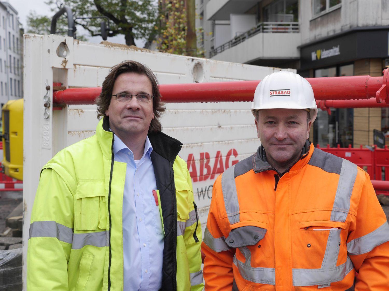 Alexander Sommer, Polier bei Strabag (rechts), und Martin Echelmeyer, Vertriebsleiter Rheinland bei Euro Verbau
