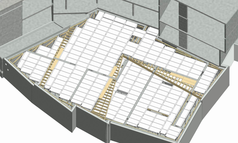 Digitaler Plan der Deckenschalung mit Meva-Dec