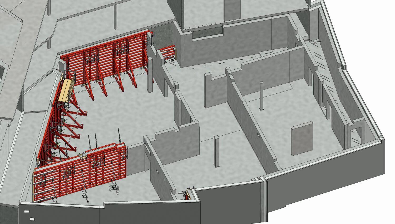 Digitales Schalungsmodell eines Bürogebäudes